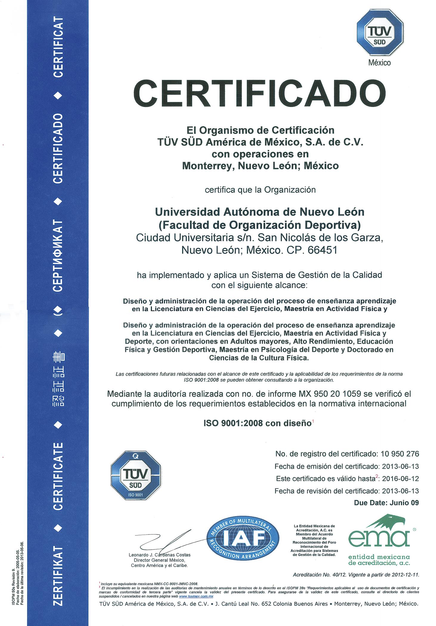 Certificaciones y acreditaciones facultad de for Certificado ministerio del interior