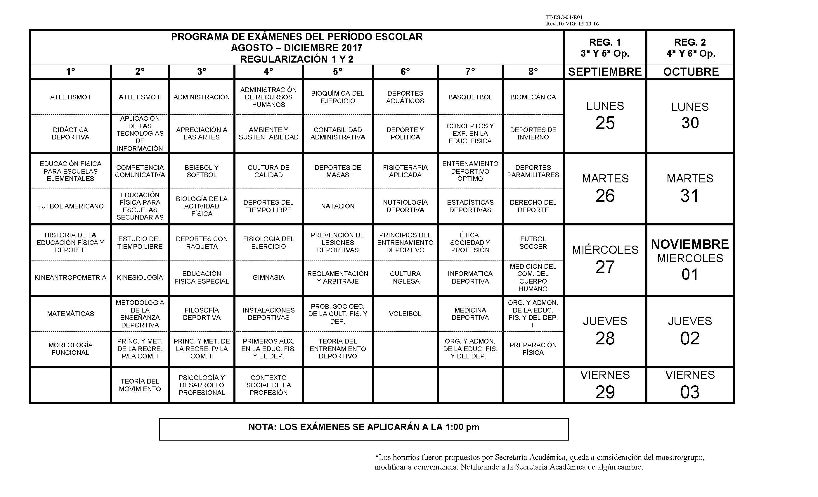 Calendario De Examenes.Calendario De Examenes Ago Dic 2017 Parte2 Facultad De